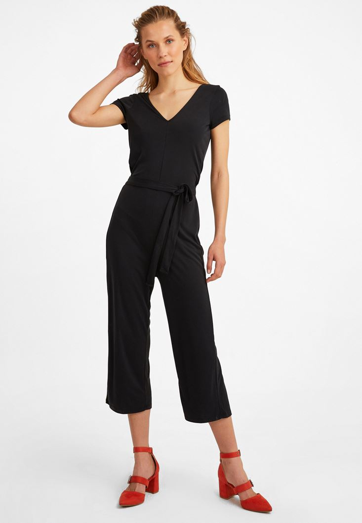 Black Extra Soft Belted Overall