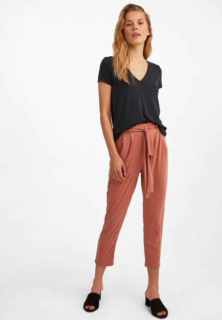 Turuncu Yumuşak Dokulu Orta Bel Pantolon