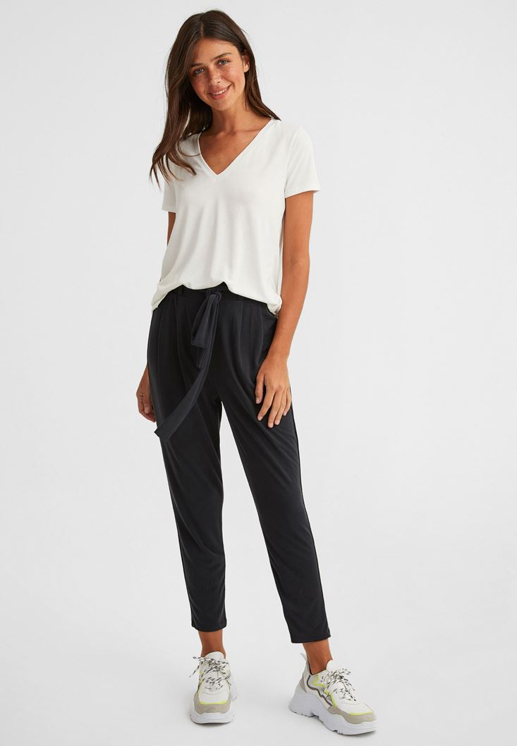 Black Extra Soft Belted Trousers