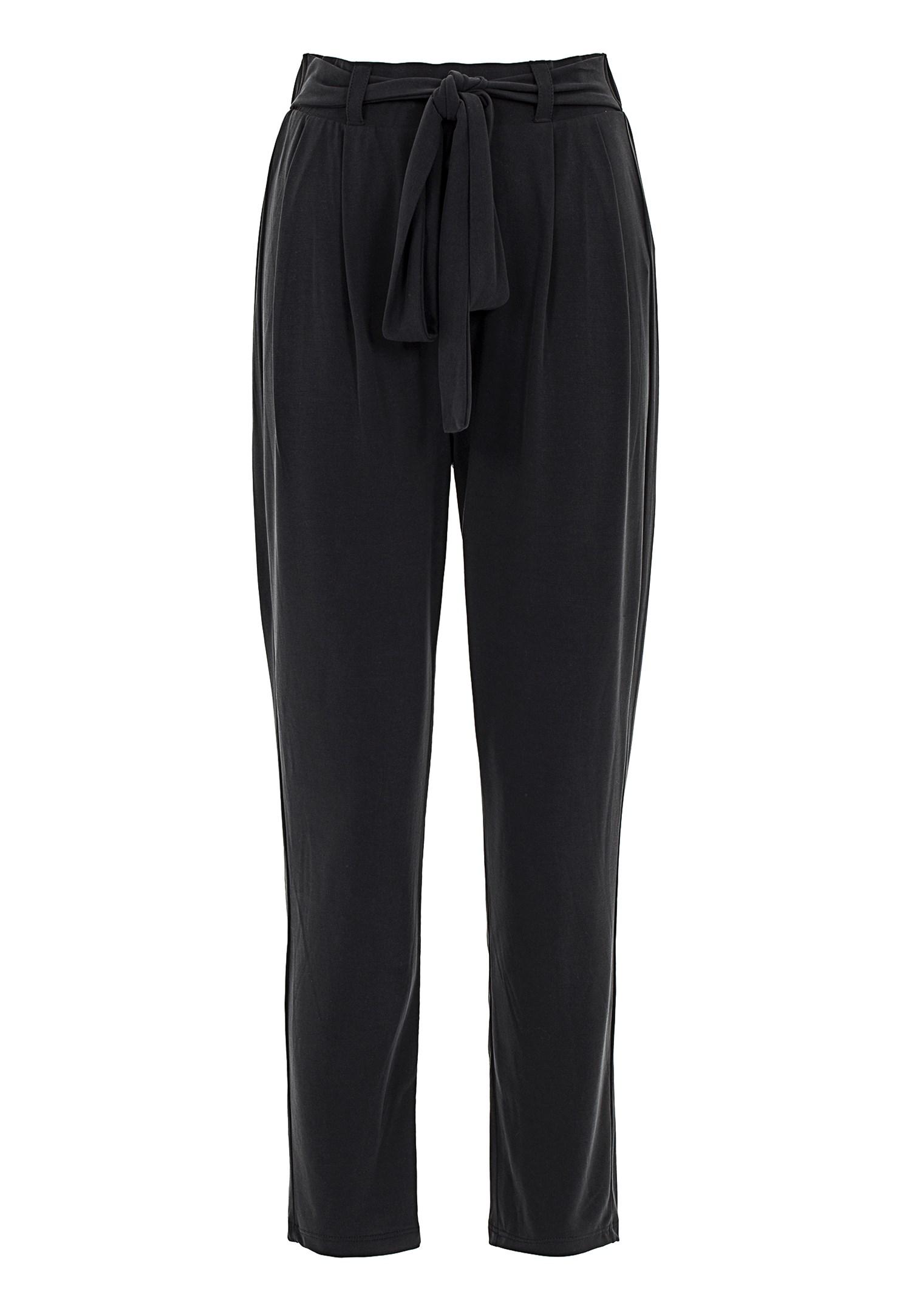 Bayan Siyah Yumuşak Dokulu Orta Bel Pantolon