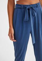 Bayan Lacivert Yumuşak Dokulu Orta Bel Pantolon