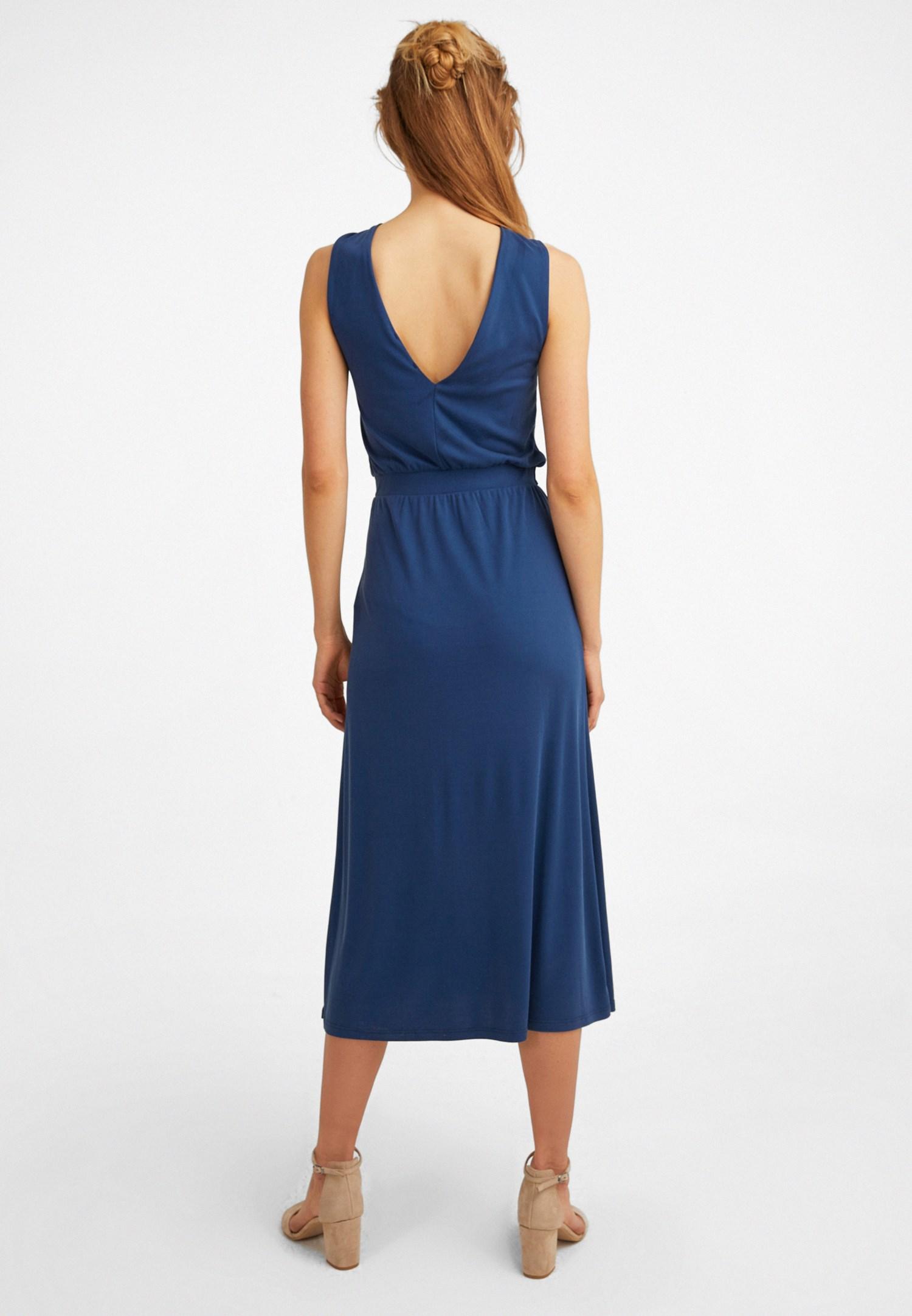 Bayan Lacivert Yaka Detaylı Midi Elbise