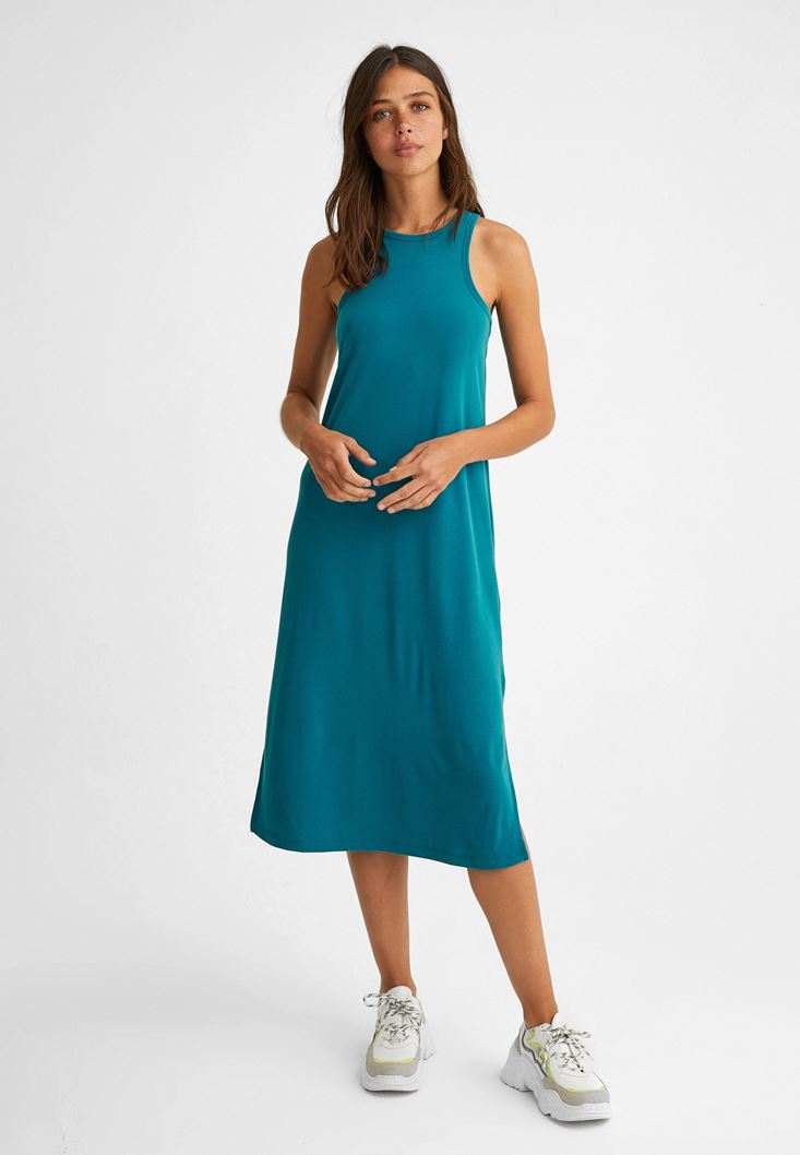 Blue Halter Neck Extra Soft Dress