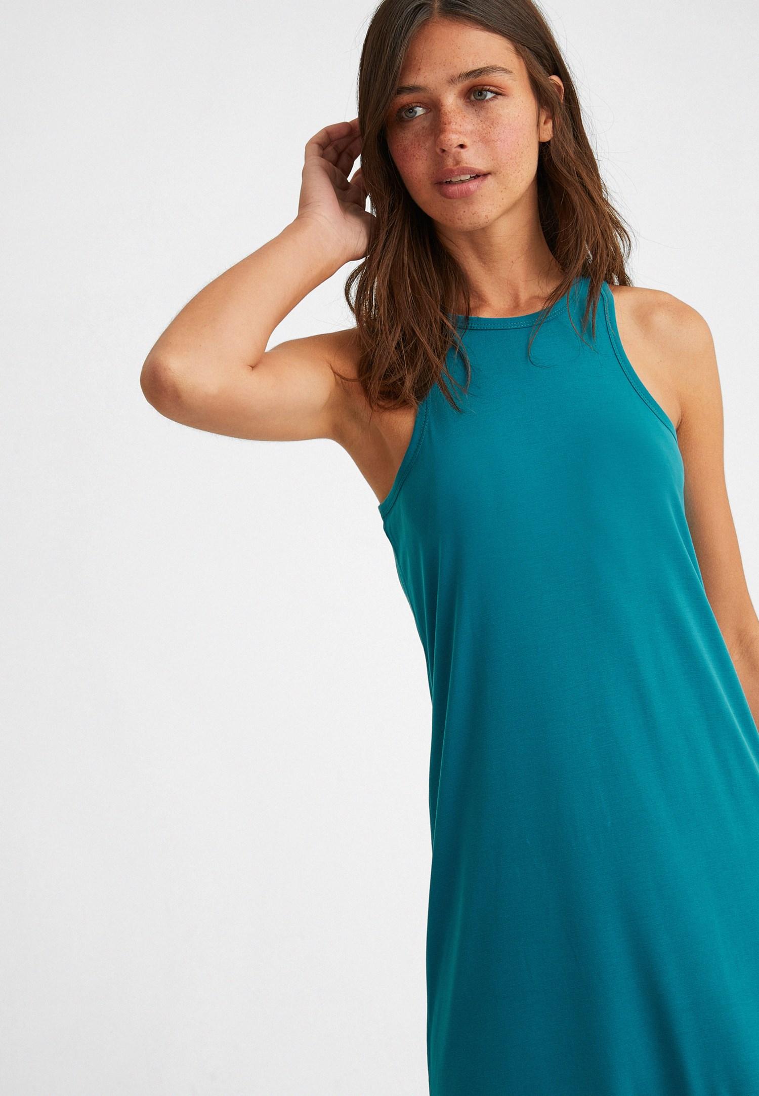 Bayan Mavi Yumuşak Dokulu Halter Yaka Elbise