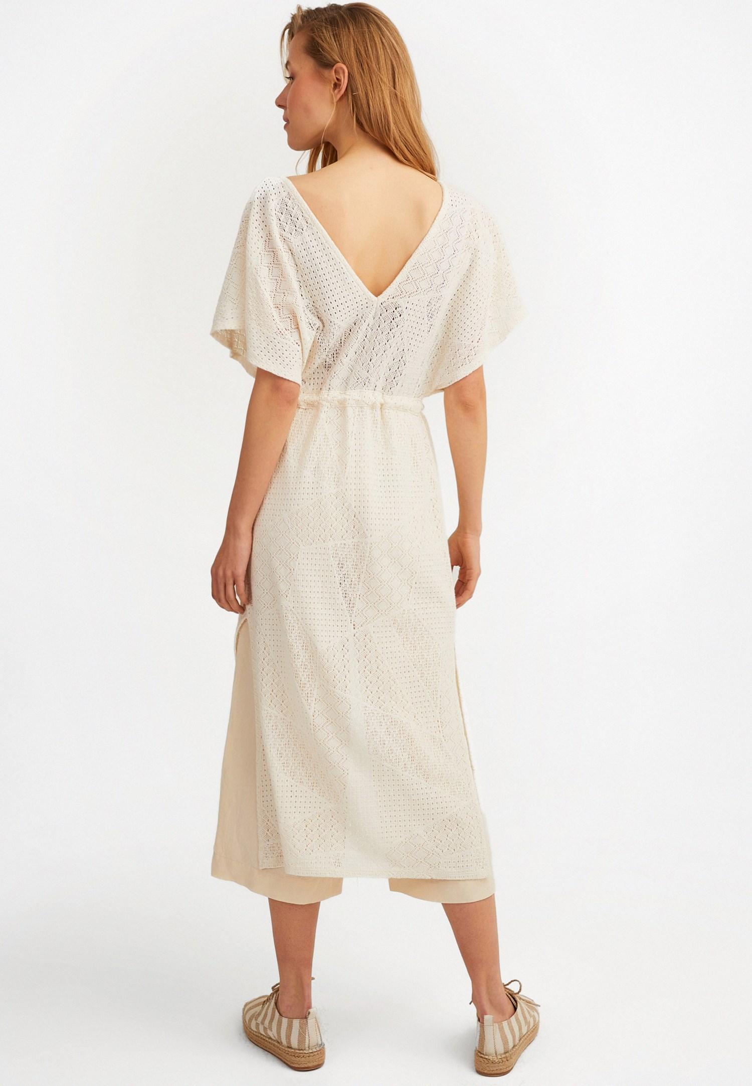 Bayan Krem Uzun Dantel Kimono