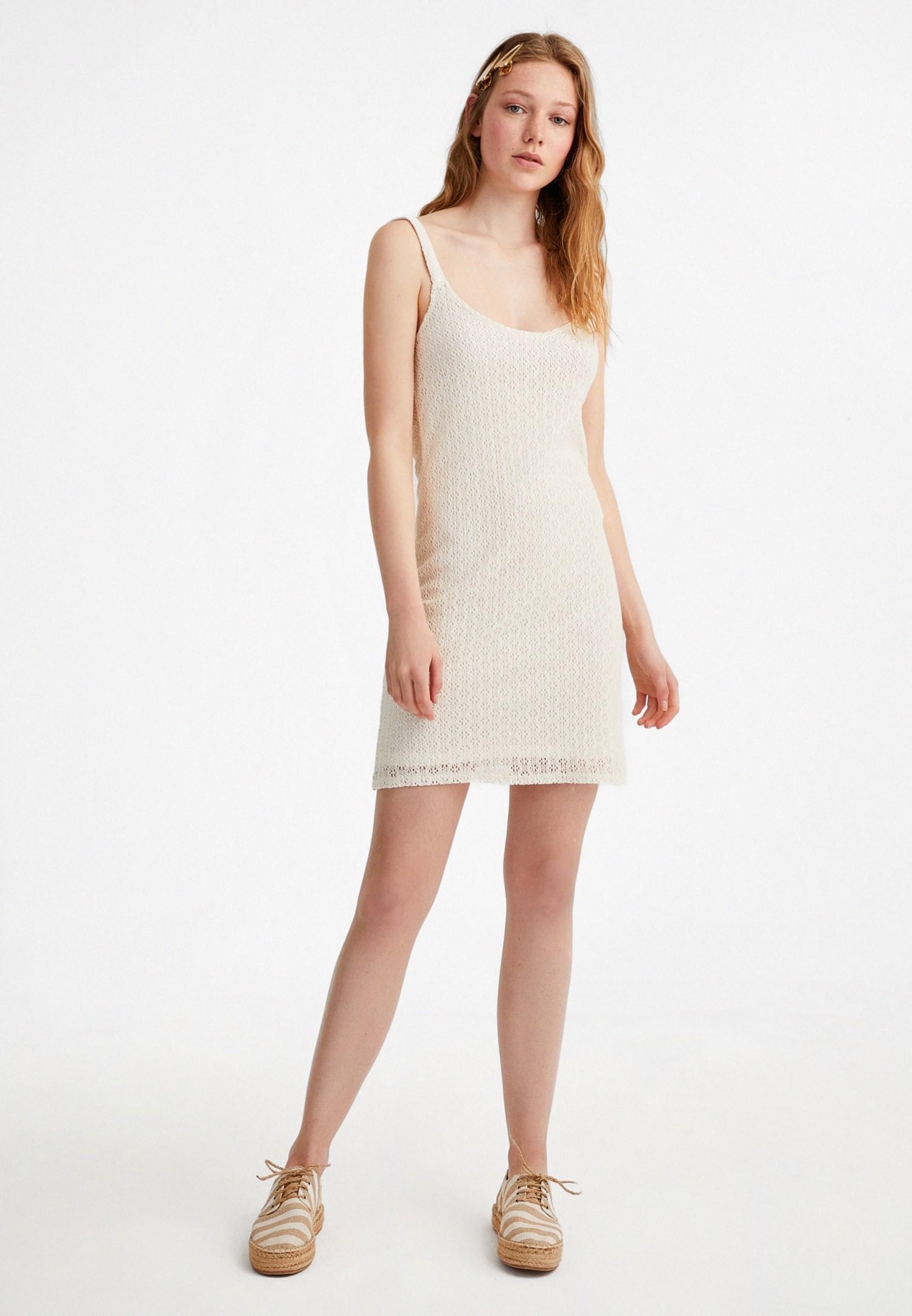 Bayan Krem Mini Dantel Elbise