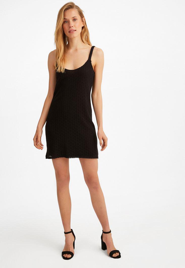 Siyah Mini Dantel Elbise