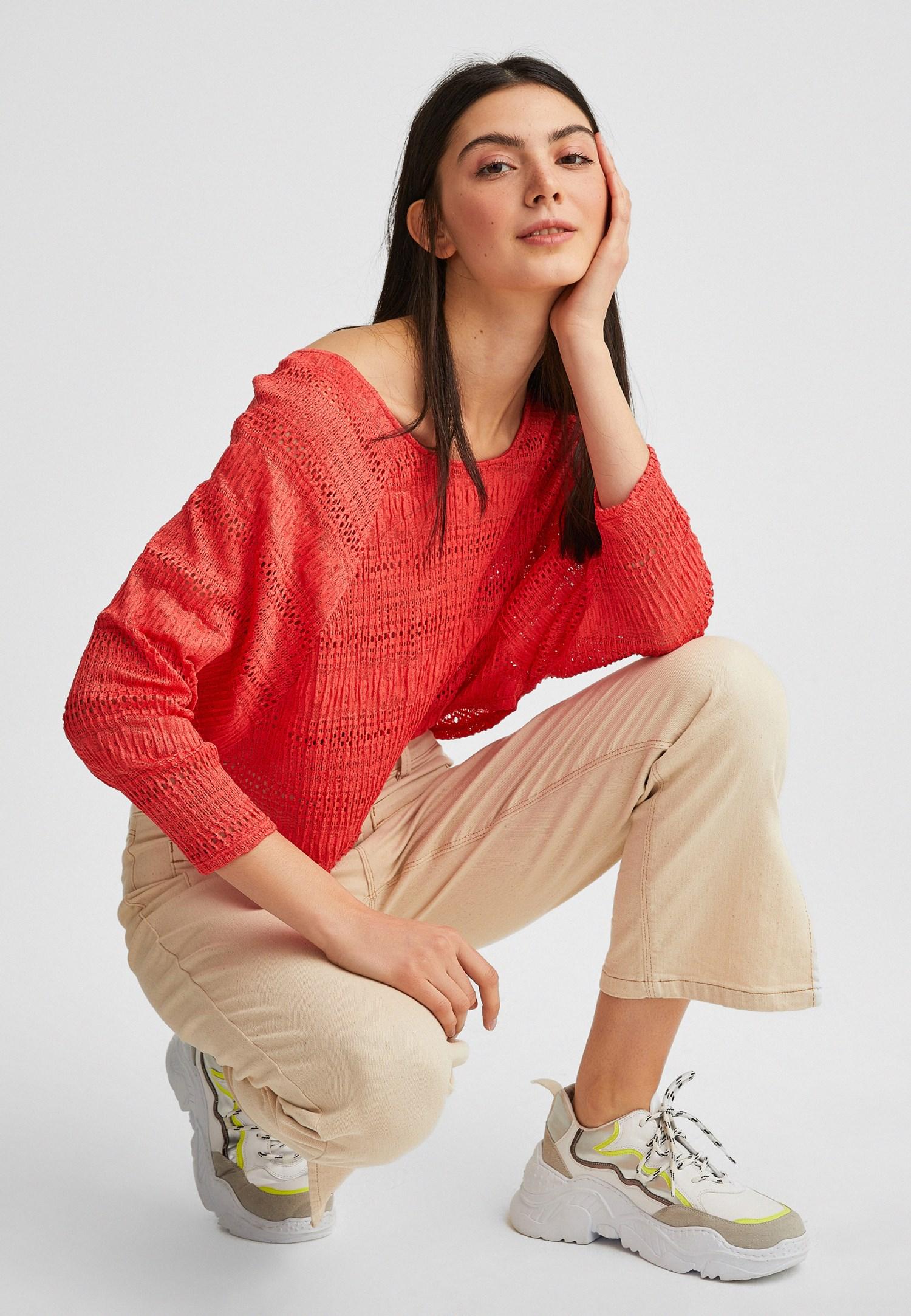 Bayan Turuncu Dantel Görünümlü Bluz