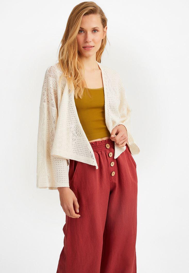 Krem Dantel Kimono Ceket