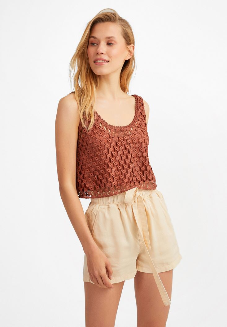 Brown Crop Lace Top