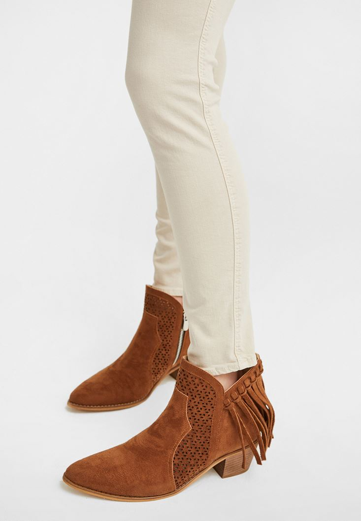 Brown Fringed Ankle Boots