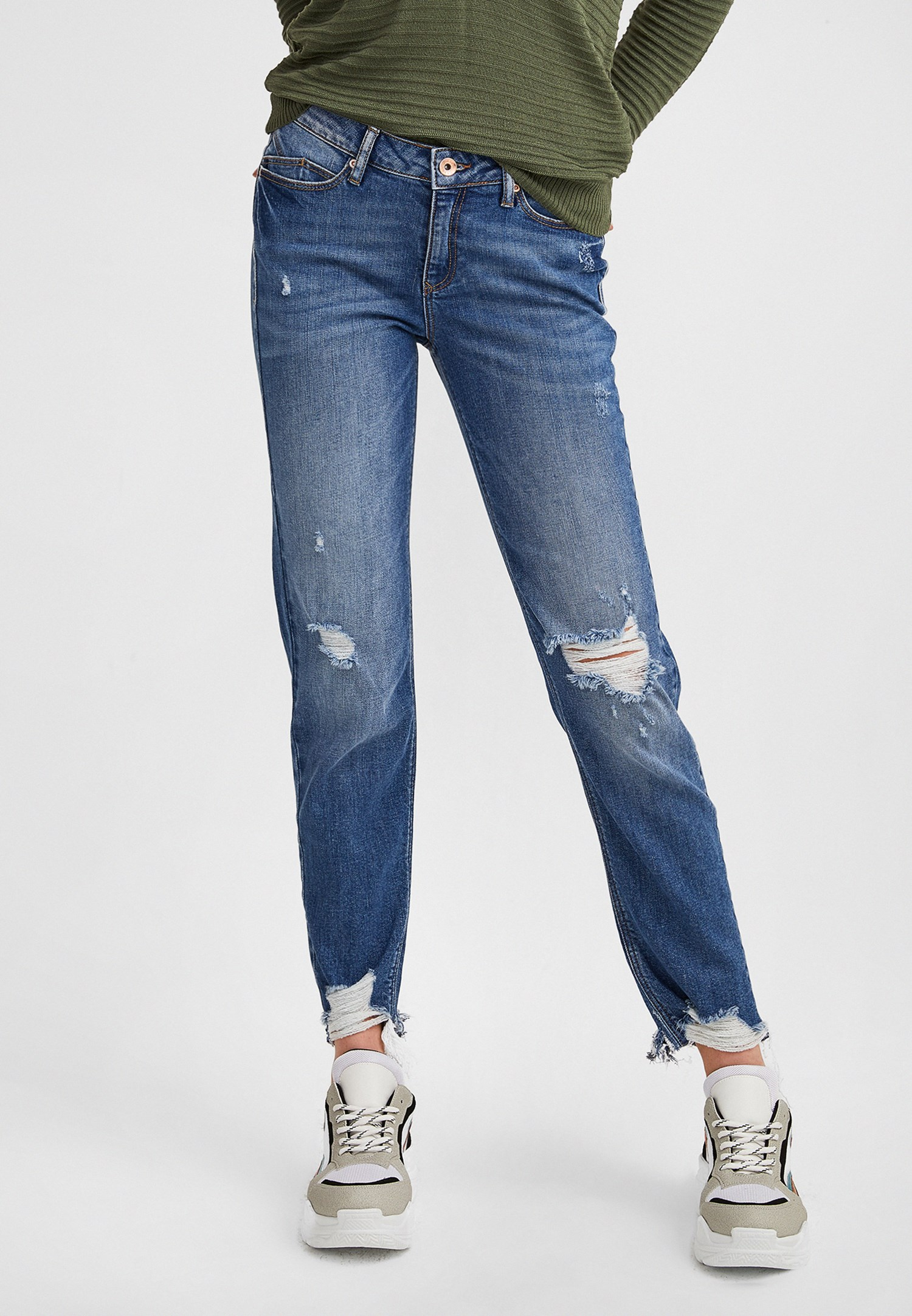 Women Navy Destroyed Bootcut Jeans