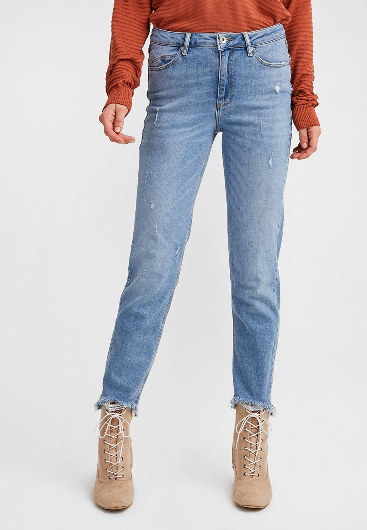 Blue Destroyed Bootcut Jeans