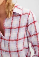 Bayan Mor Desenli Pamuk Gömlek