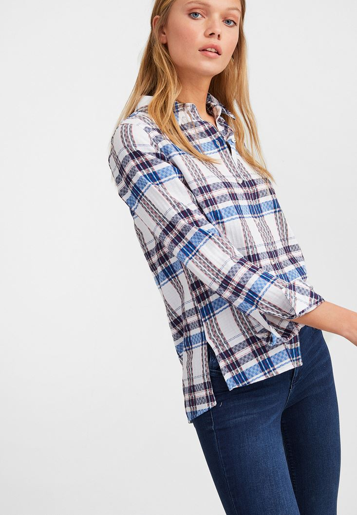 Mixed Long Sleeve Cotton Shirt