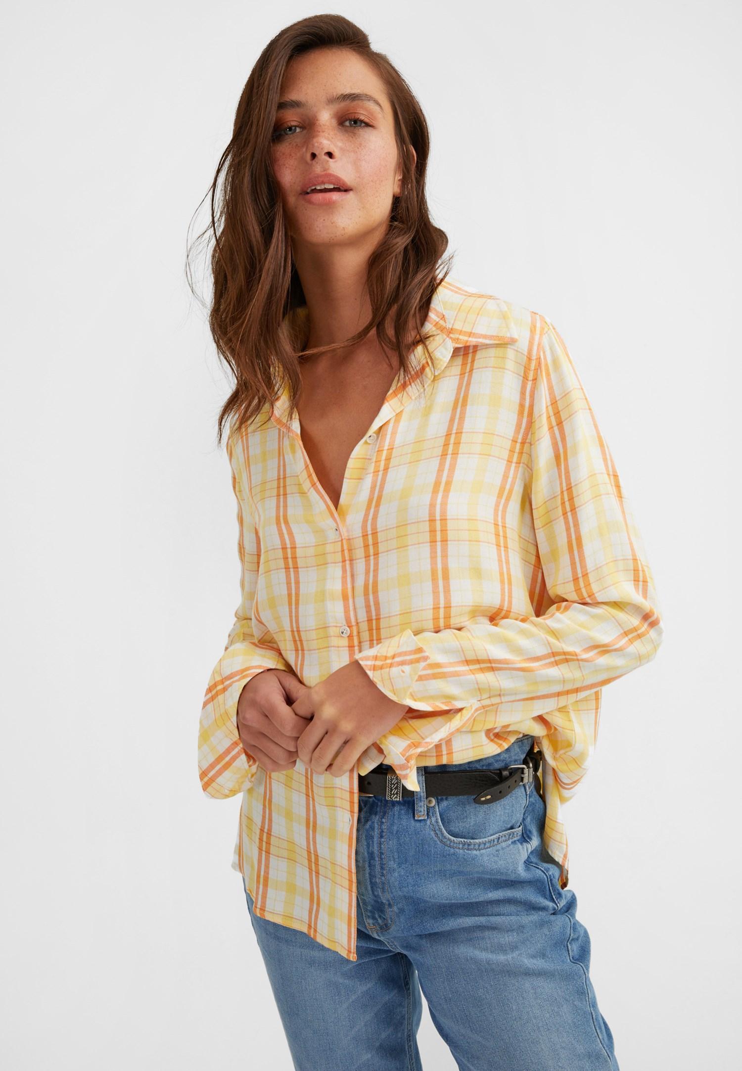 Bayan Turuncu Kareli Uzun Kollu Gömlek