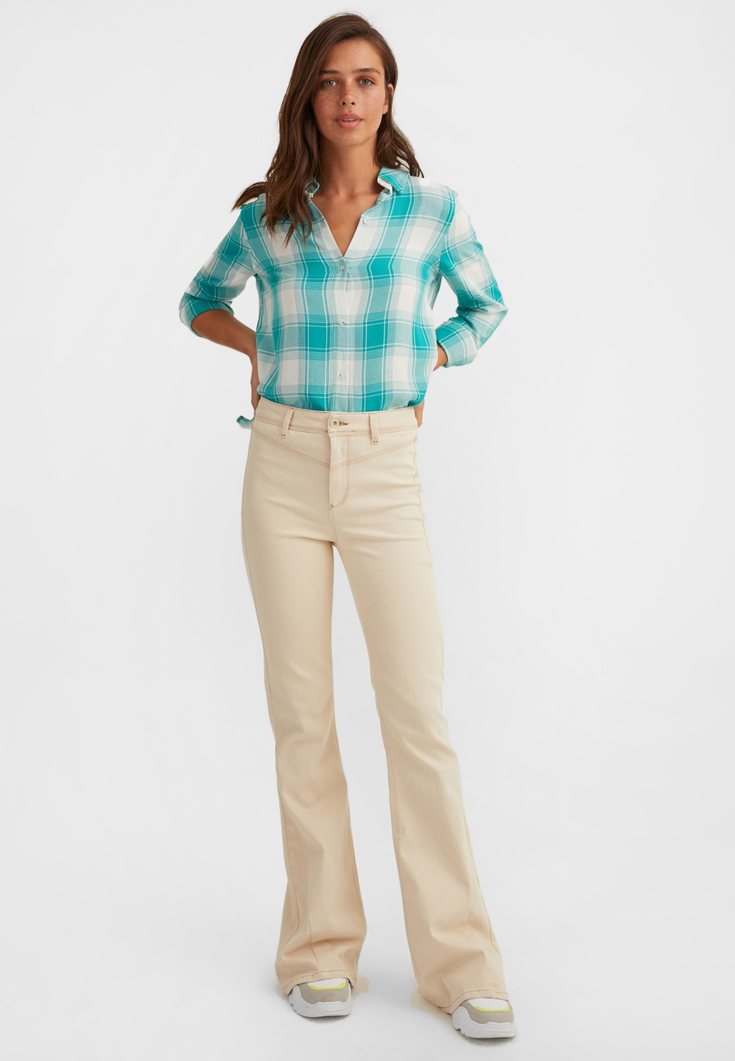 Bayan Yeşil Kareli Uzun Kollu Gömlek