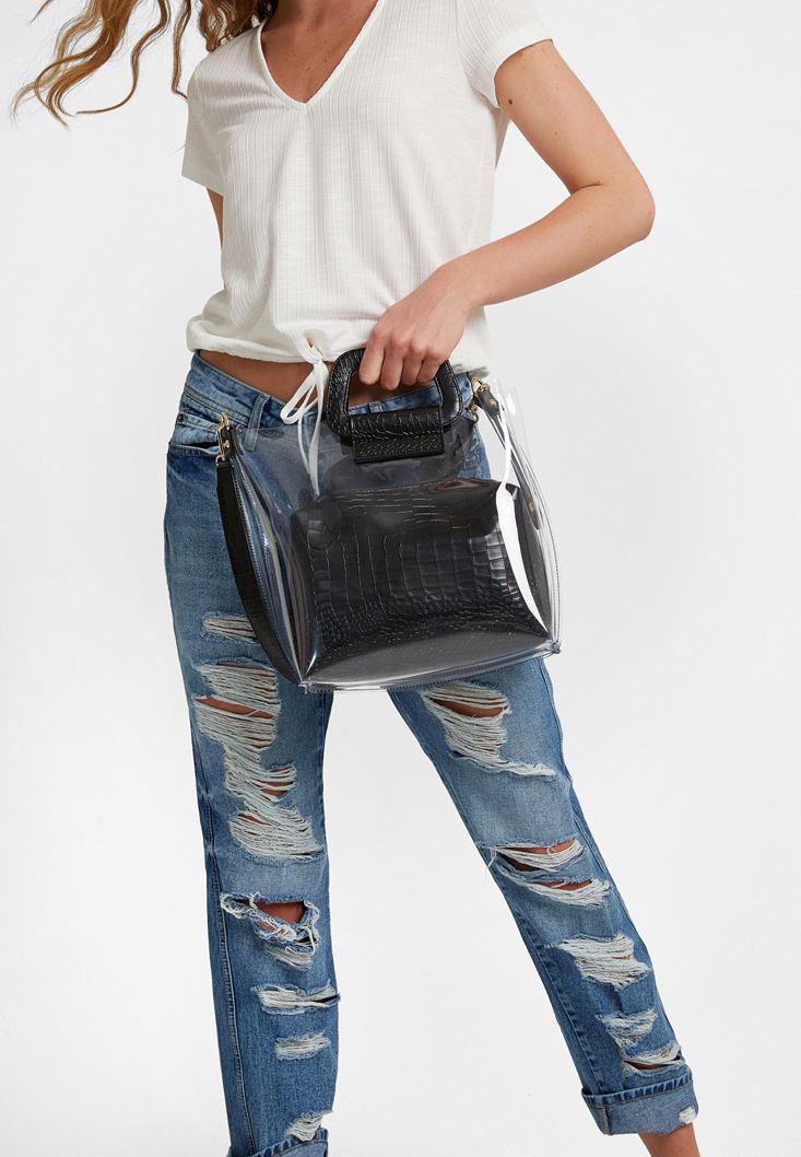 Siyah Şeffaf Detaylı Çanta