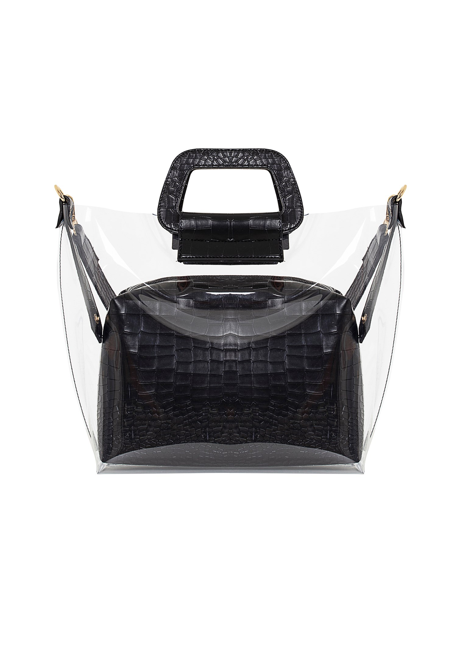 Bayan Siyah Şeffaf Detaylı Çanta