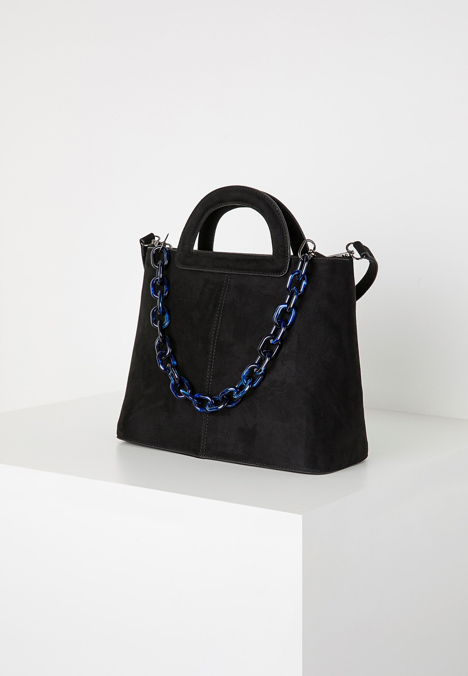 Bayan Siyah Zincir Detaylı Süet Çanta