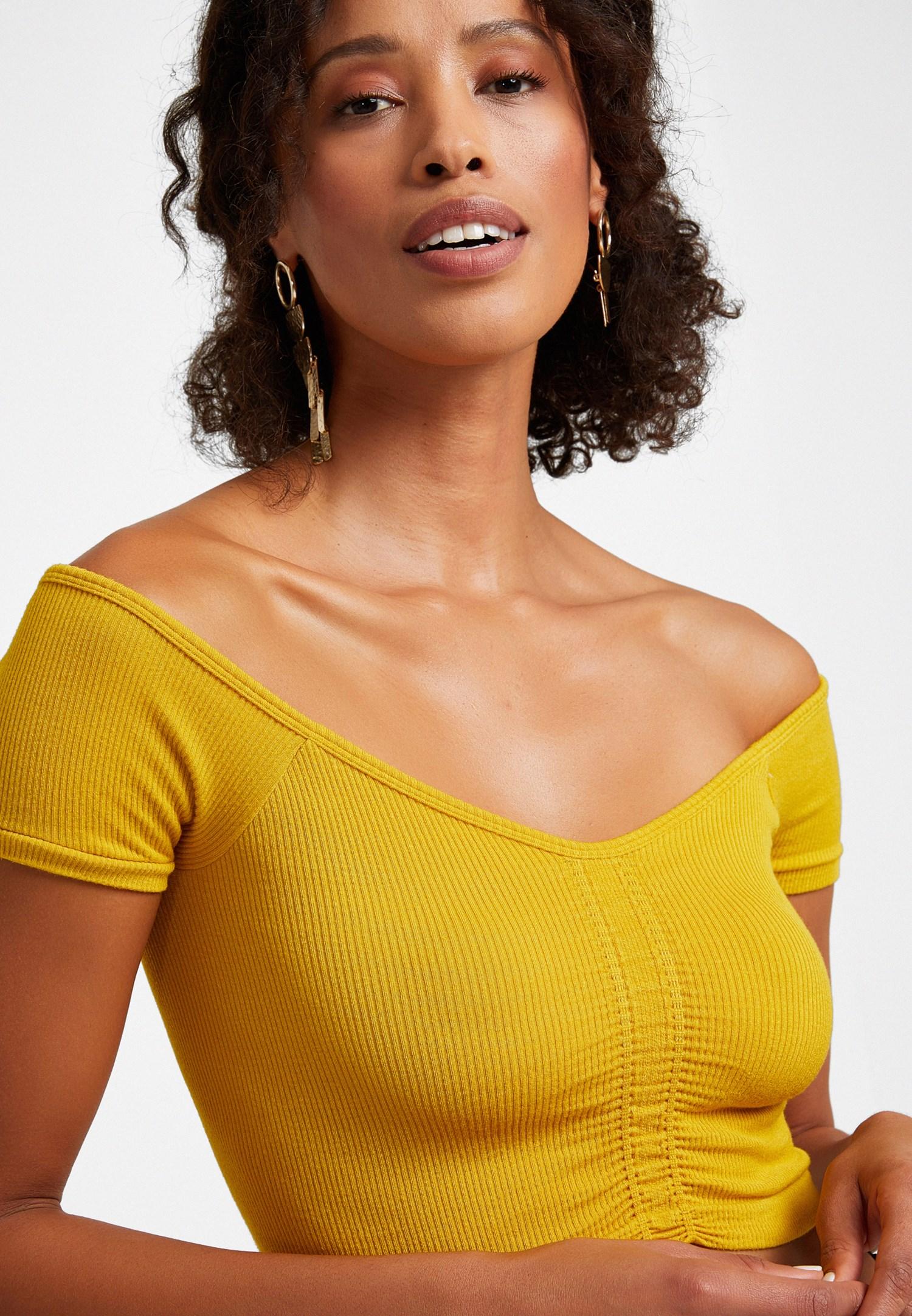 Bayan Sarı Dikişsiz Crop Top