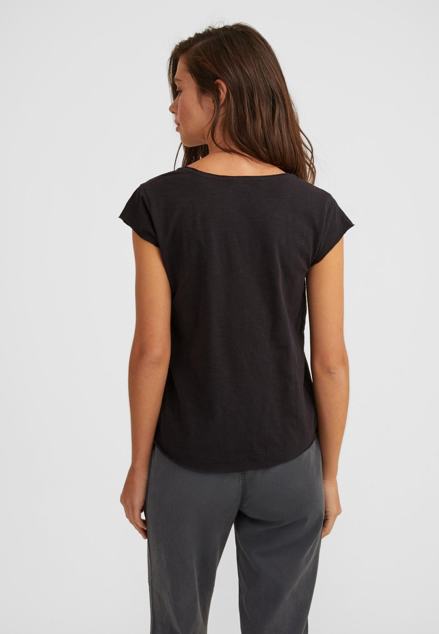 Bayan Siyah Kısa Kollu V Yaka Tişört