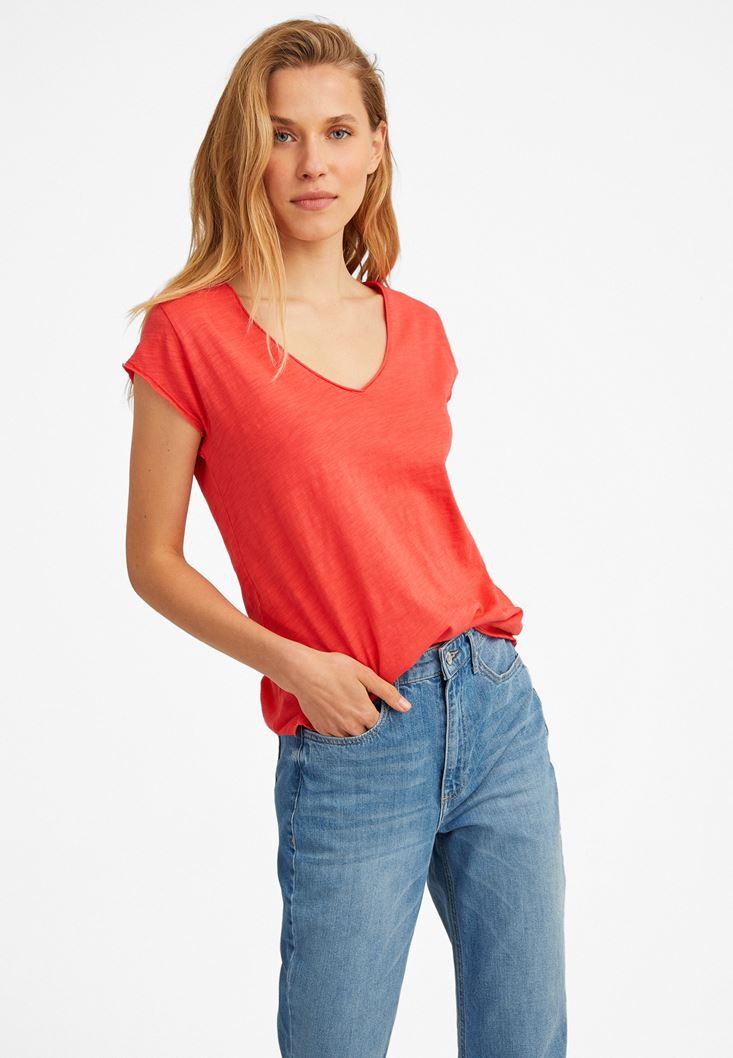 Orange V-Neck Short Sleeve T-Shirt