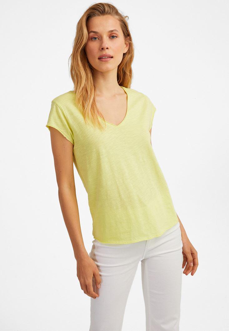Sarı Kısa Kollu V Yaka Tişört