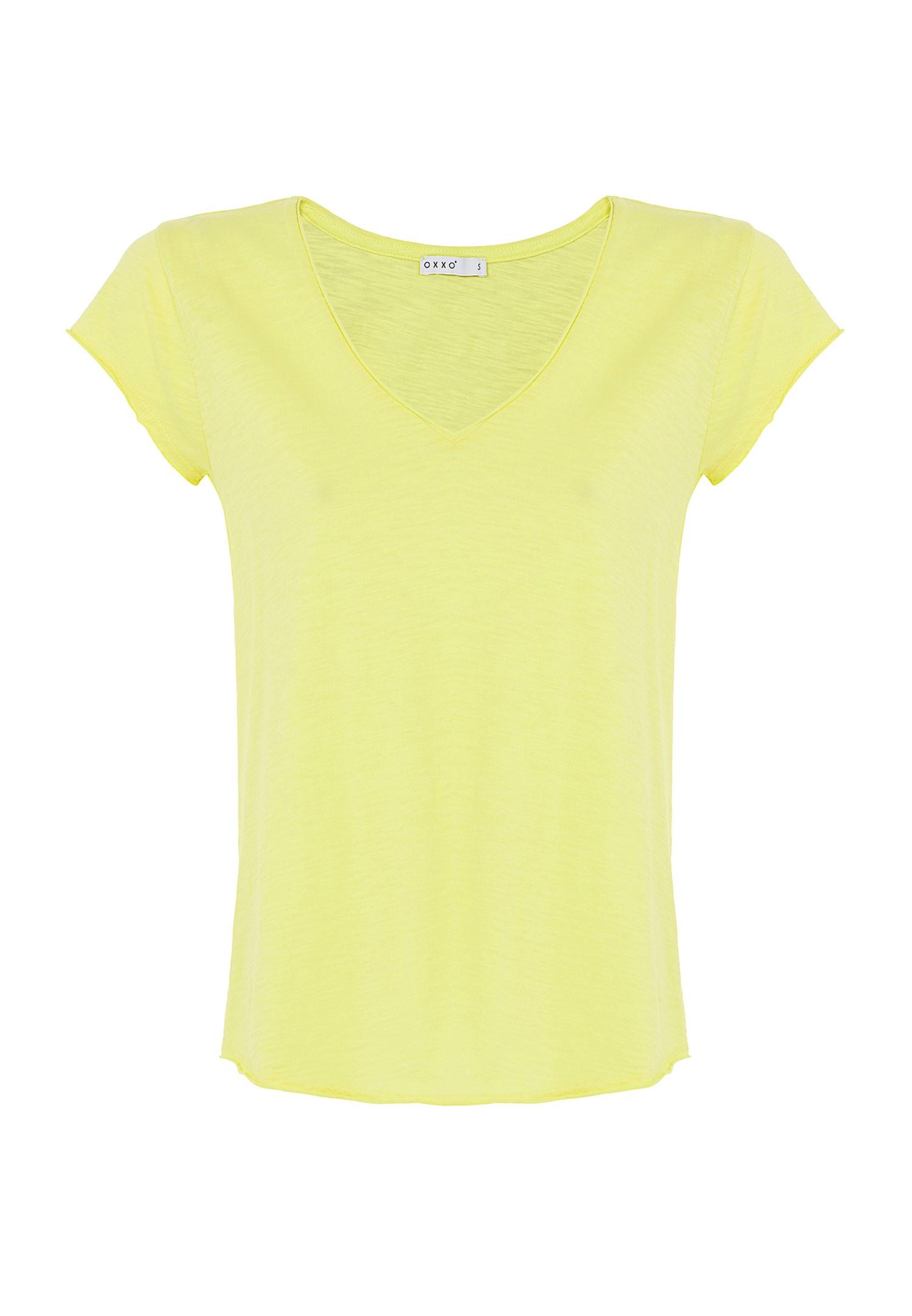 Bayan Sarı Kısa Kollu V Yaka Tişört