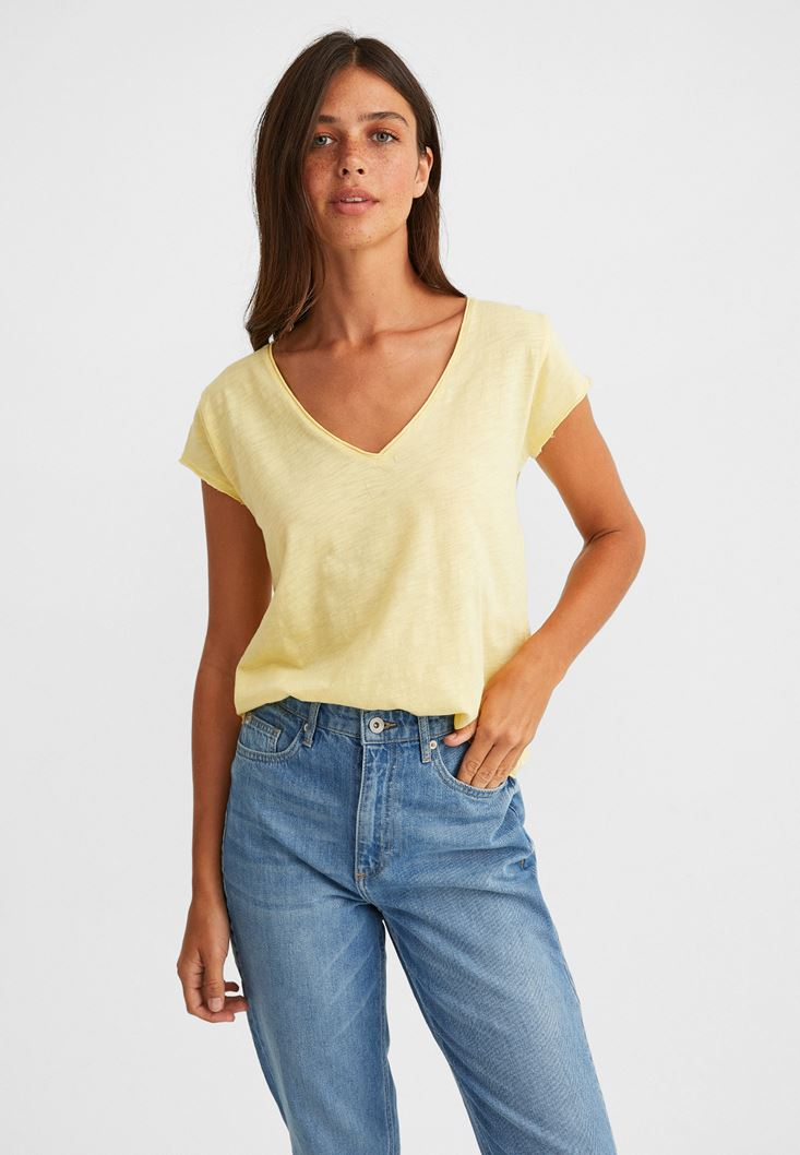Yellow V-Neck Short Sleeve T-Shirt