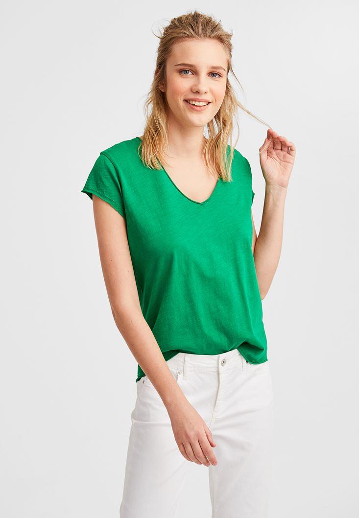 Yeşil Kısa Kollu V Yaka Tişört