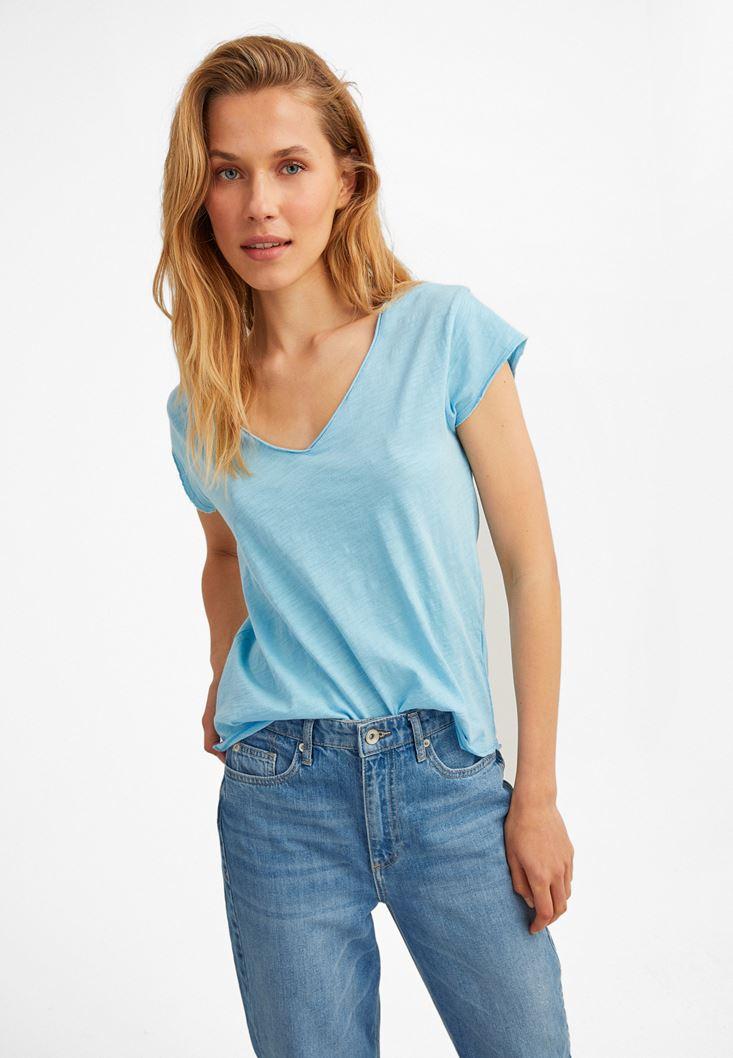 Mavi Kısa Kollu V Yaka Tişört