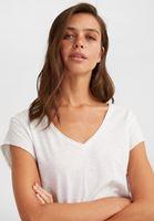 Bayan Beyaz Kısa Kollu V Yaka Tişört