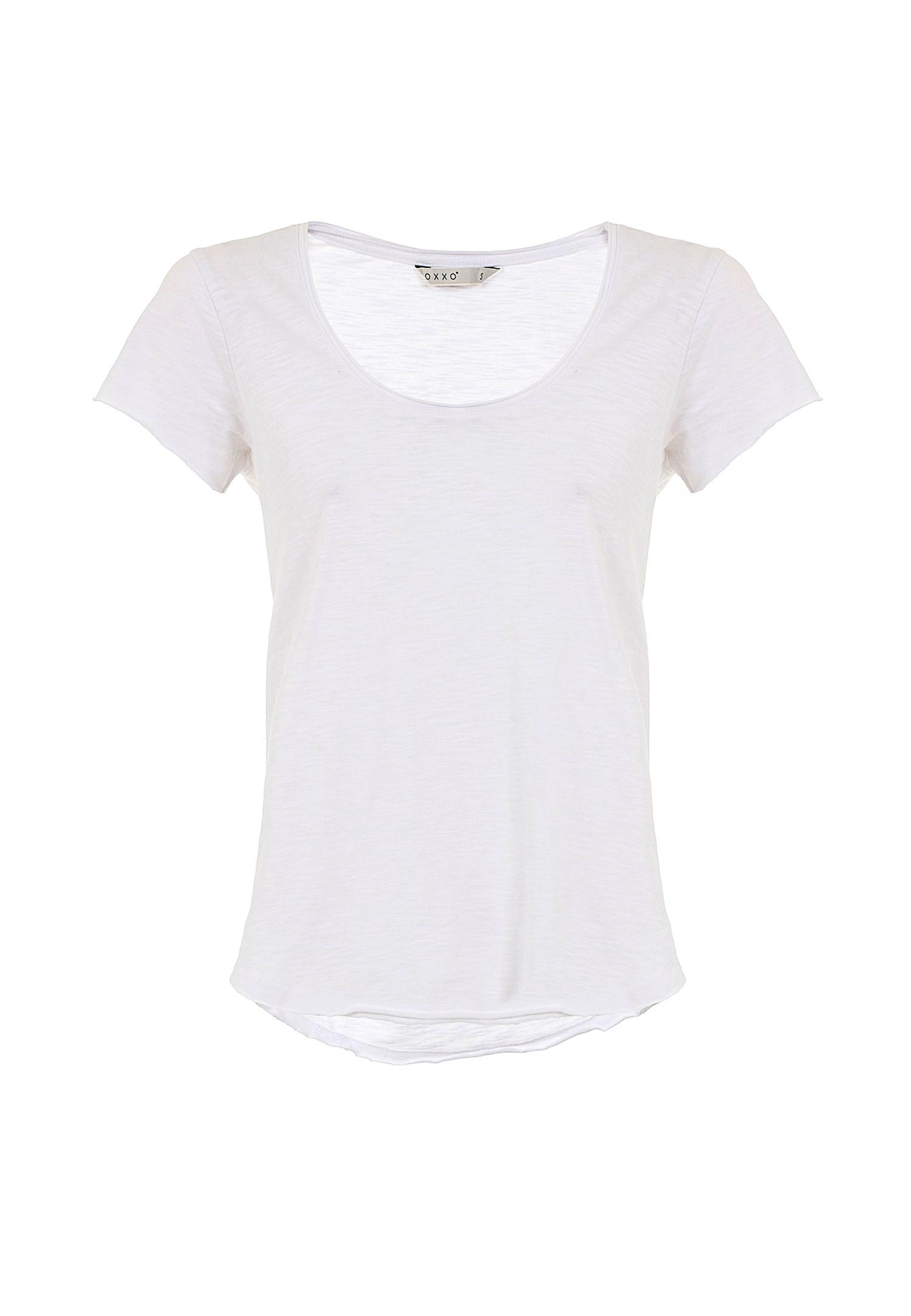 Bayan Beyaz Kısa Kollu U Yaka Tişört