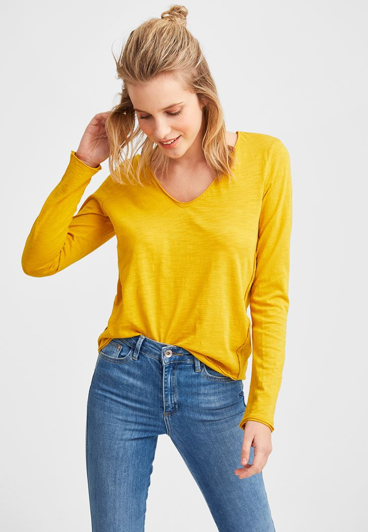 Yellow Cotton Basic with V Neck