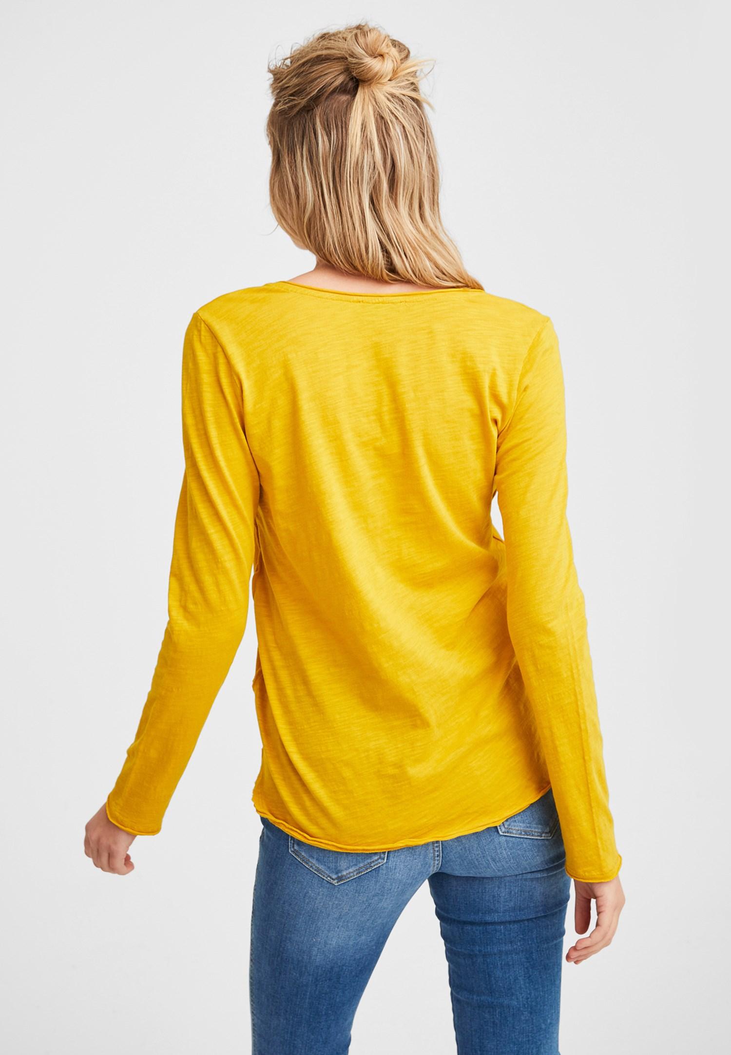 Bayan Sarı Pamuklu V Yaka Uzun Kollu