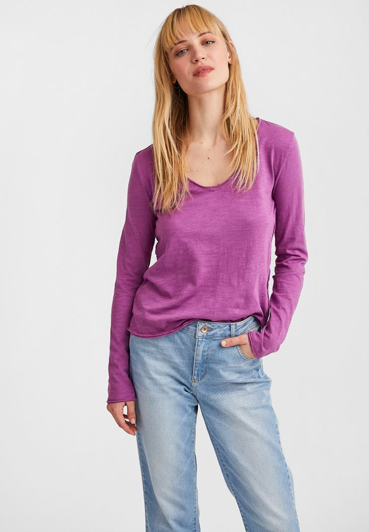 Purple Cotton Basic with V Neck