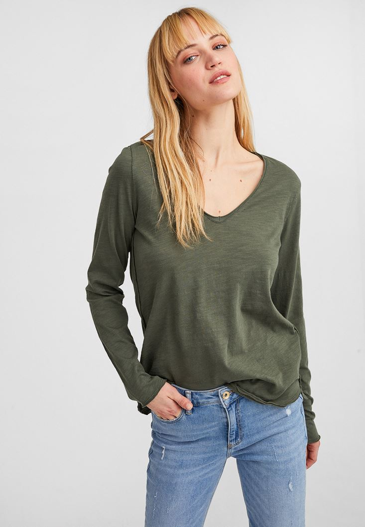 Green Cotton Basic with V Neck