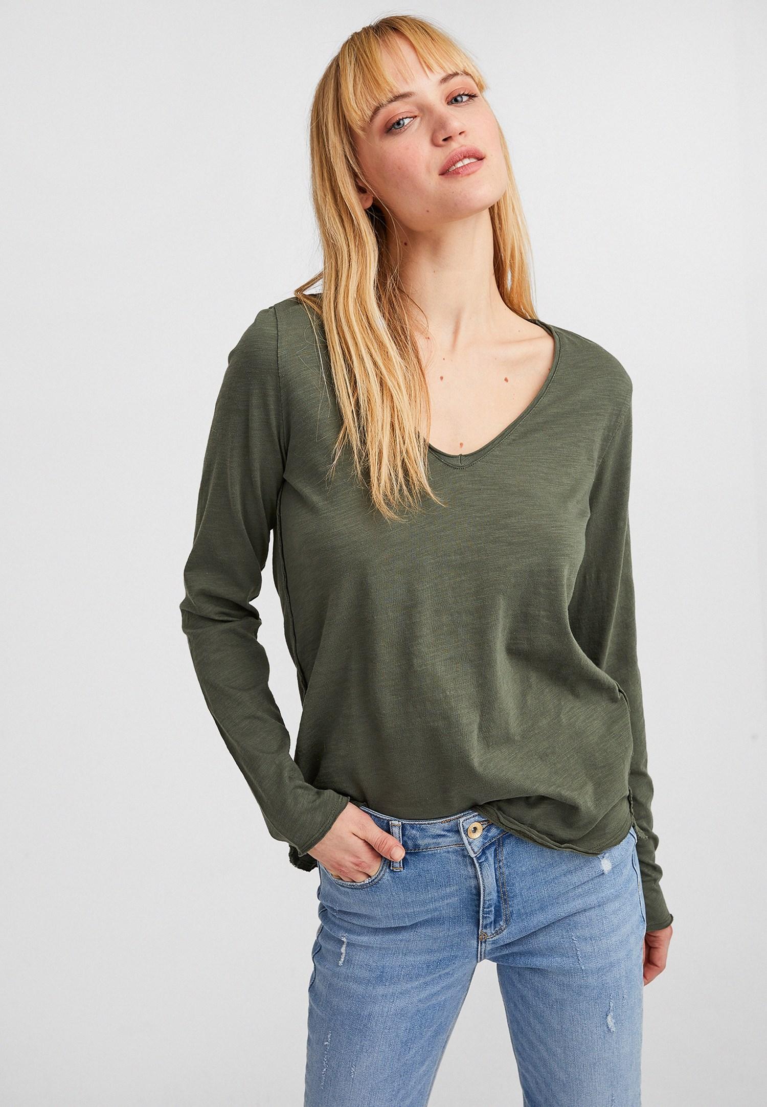 Bayan Yeşil Pamuklu V Yaka Uzun Kollu
