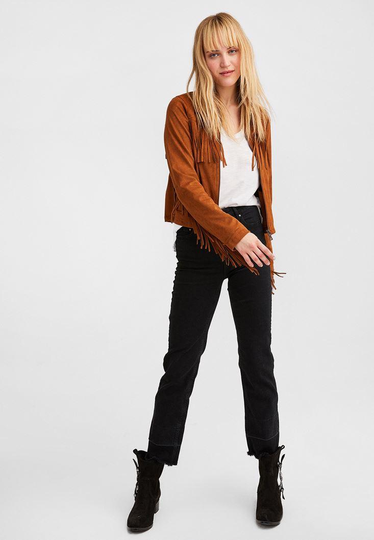 V Yaka Uzun Kollu Ve Crop Straight Jean Kombini