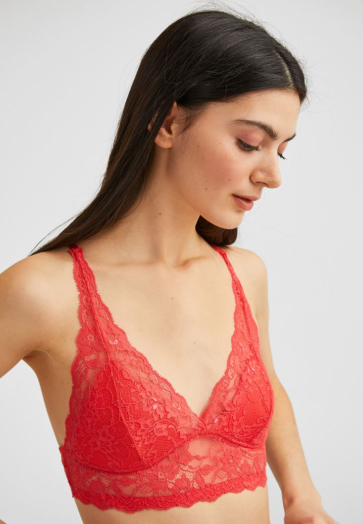 Orange Lace Bralette with Back Details