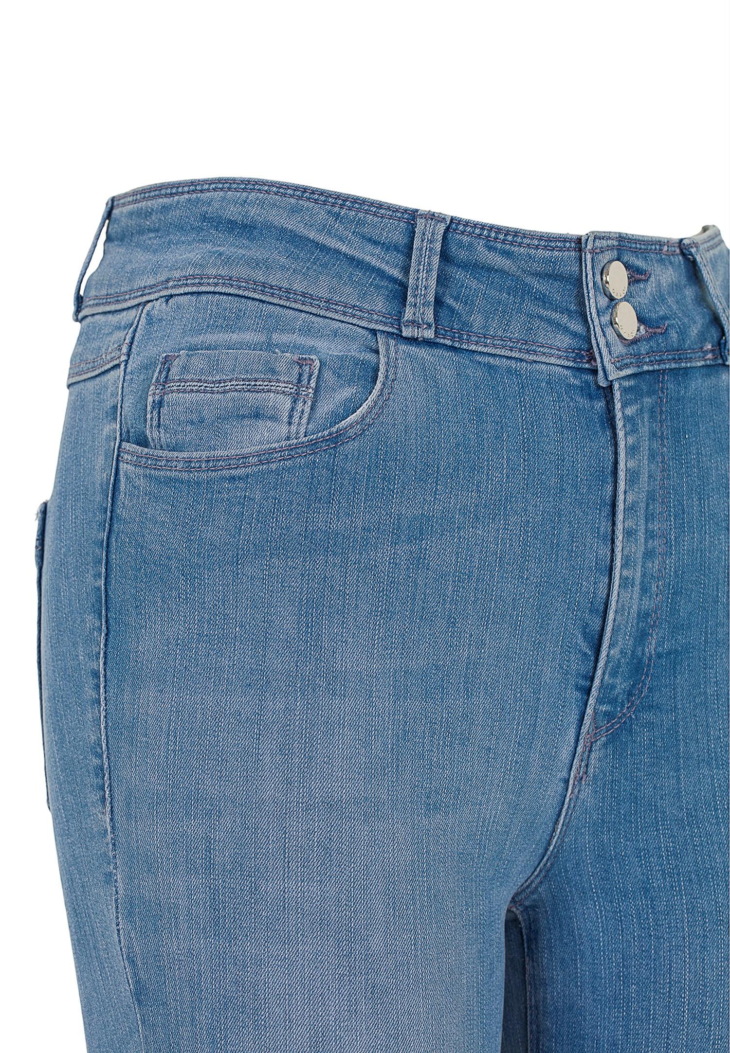 Bayan Mavi Yüksek Bel Dar Paça Skinny Pantolon