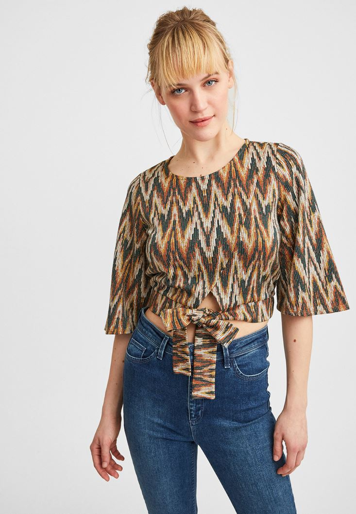 Mixed Blouse with Bow
