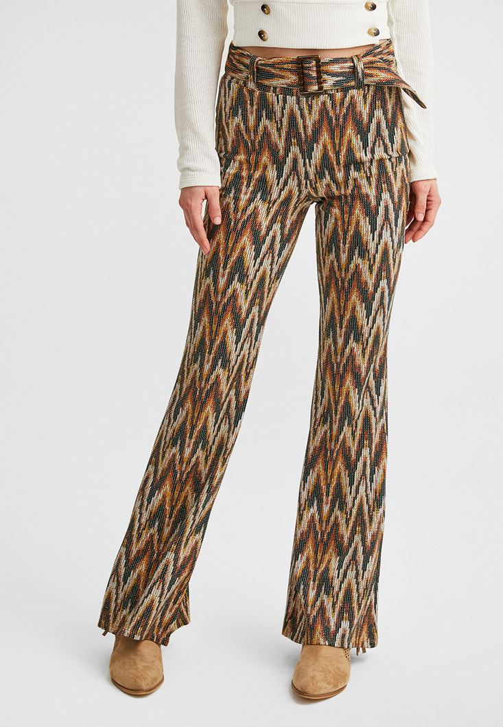 Mixed Flared Trousers with Belt