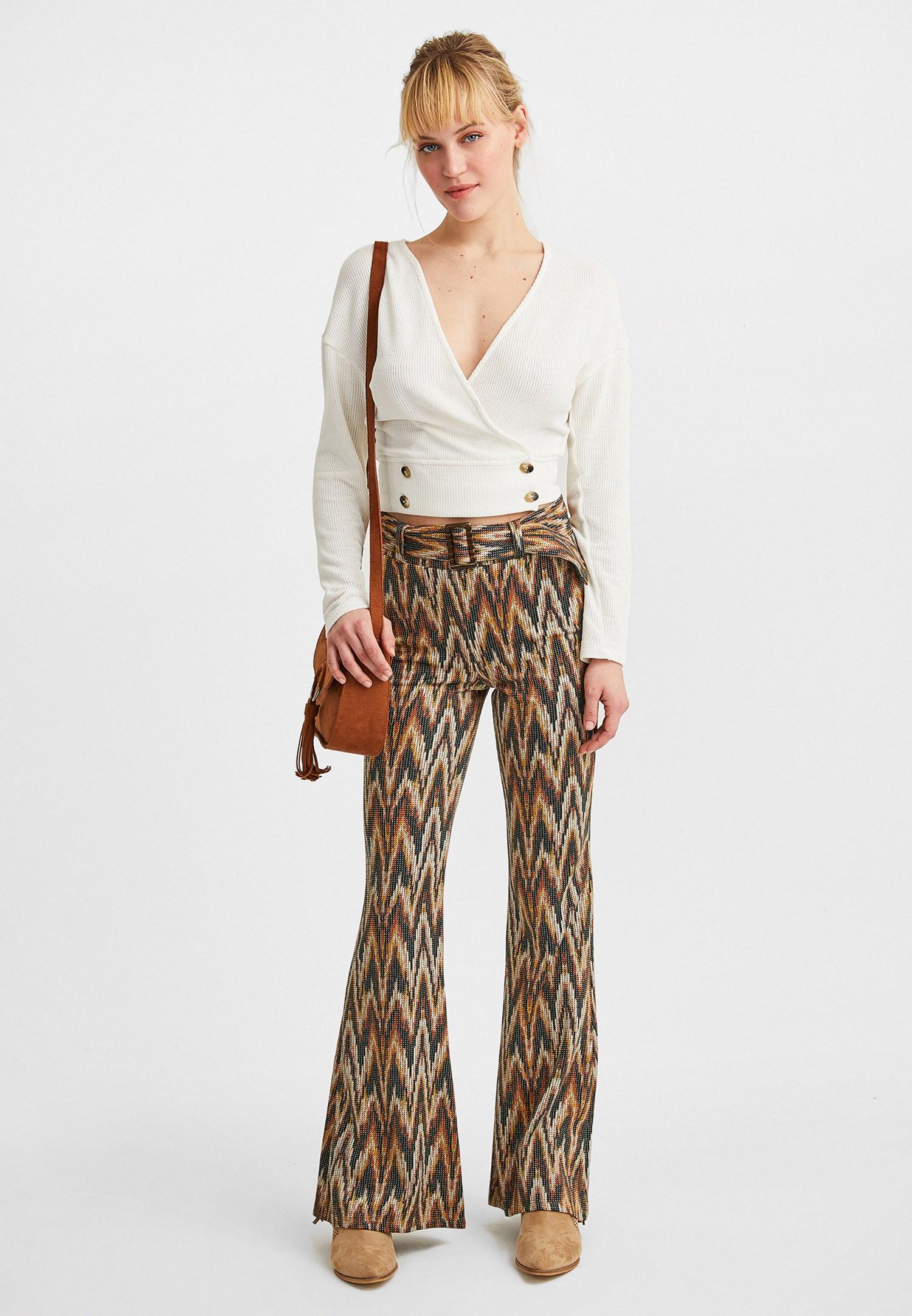Bayan Çok Renkli Kemerli Flare Pantolon