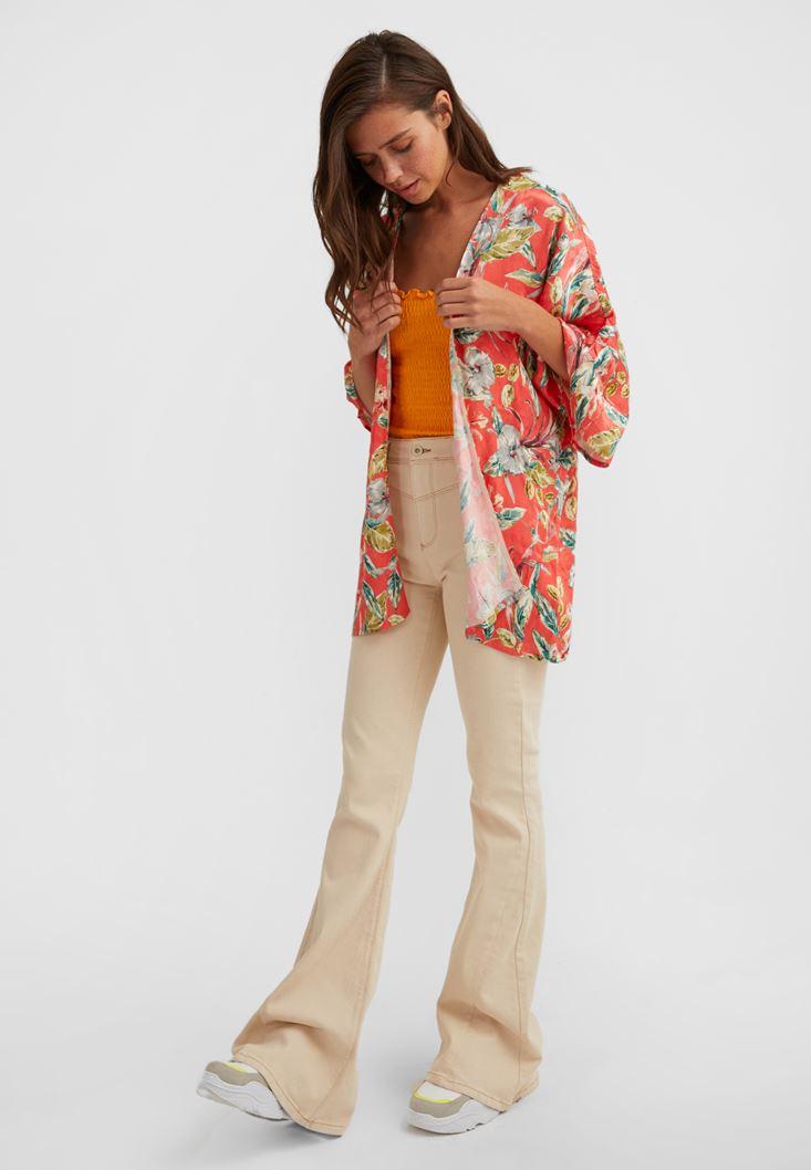 Çok Renkli Çiçek Baskılı Kimono