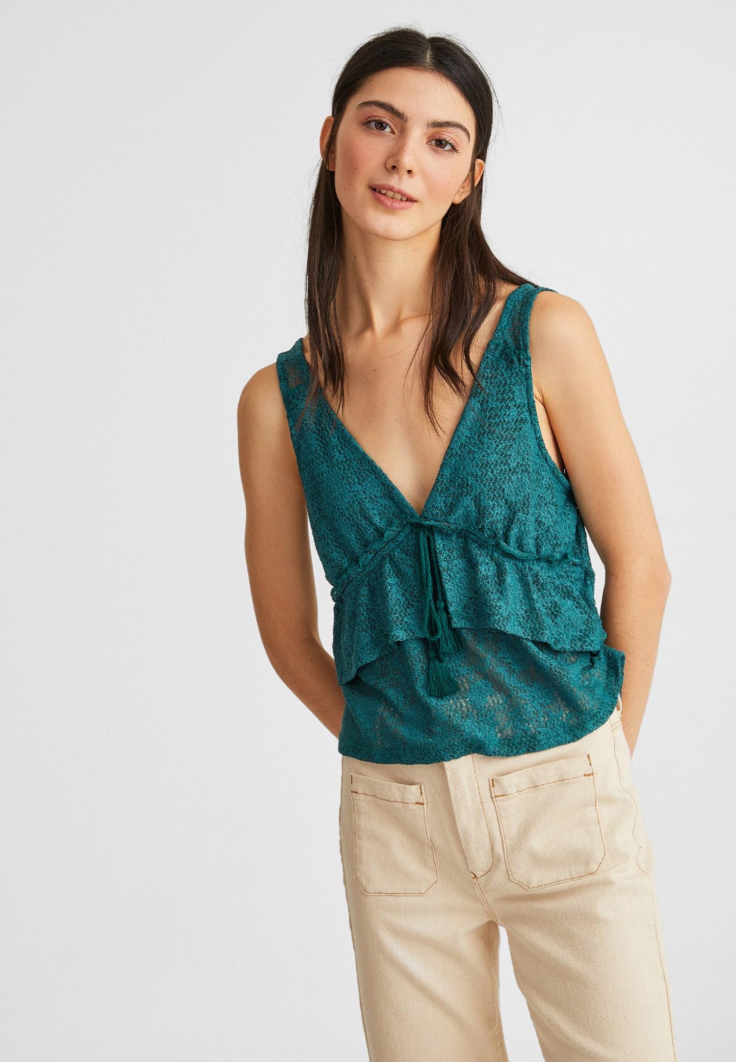 Bayan Yeşil Fırfır Detaylı Jakarlı Bluz