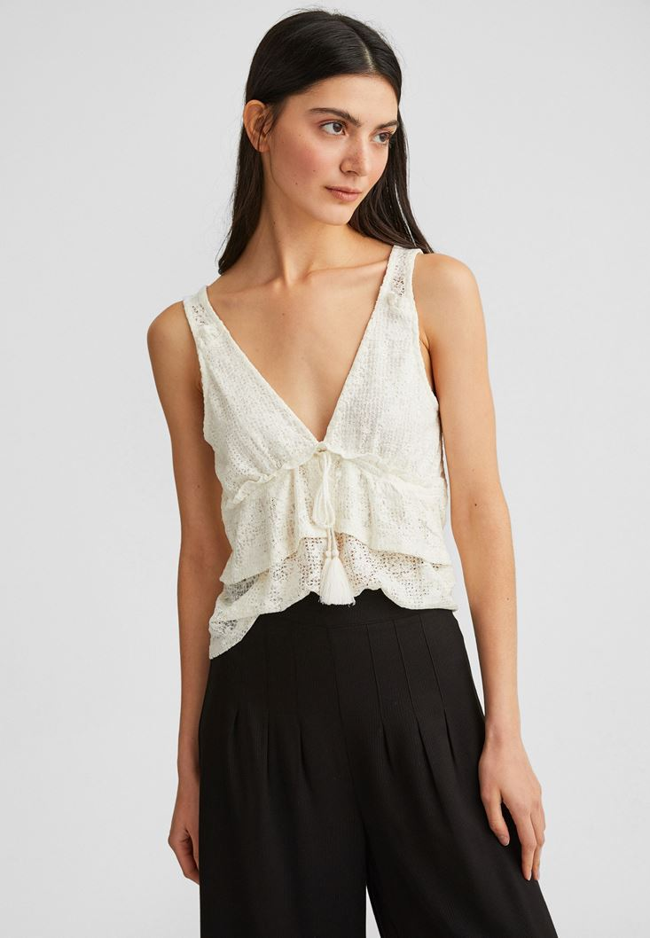 Jacquard Blouse with Ruffles