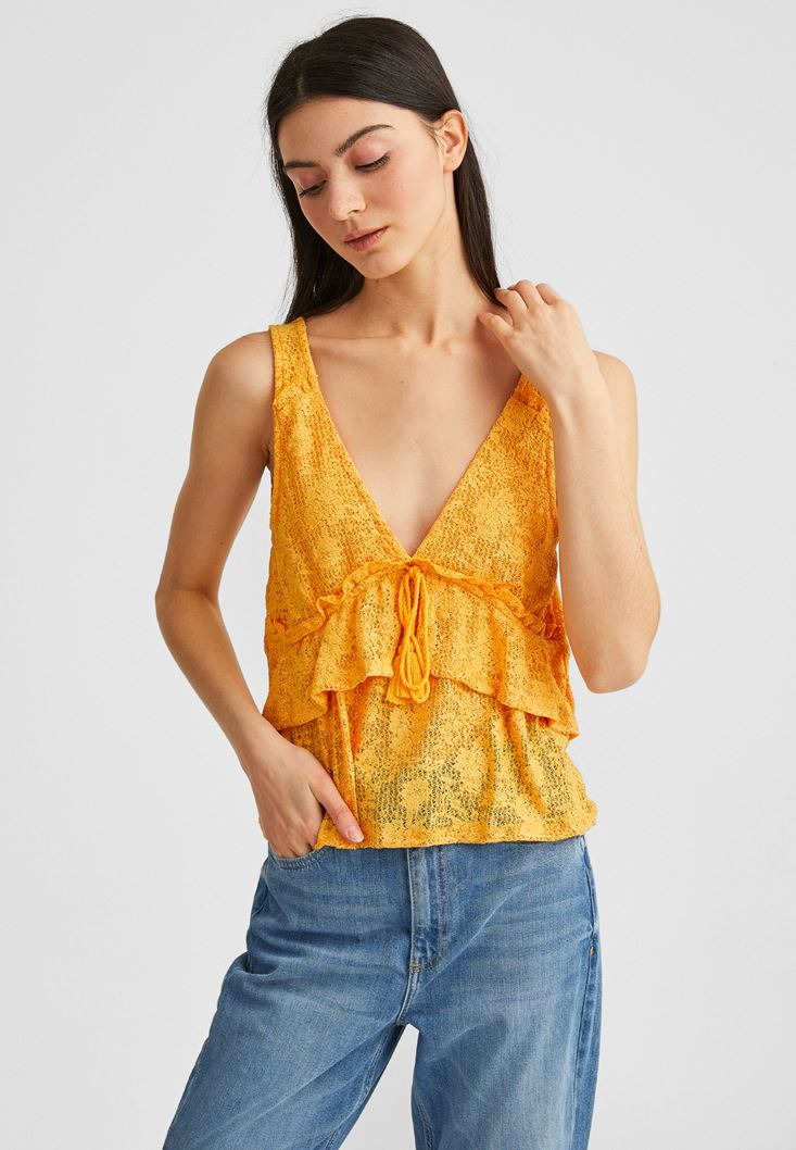 Yellow Jacquard Blouse with Ruffles