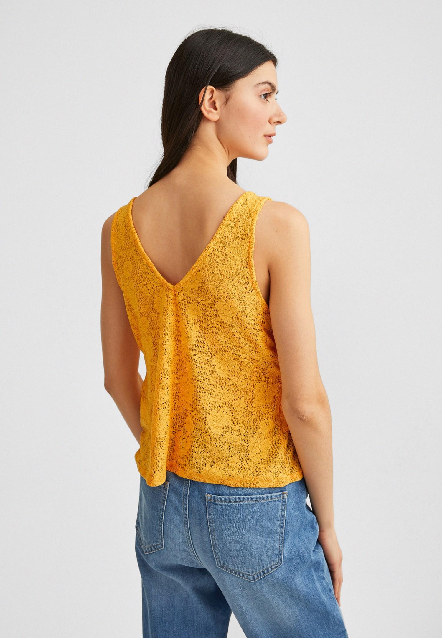 Women Orange Jacquard Blouse with Ruffles